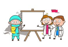 Cartoon Surgeon and Other Doctors Presenting a Blank Canvas Vector Stock Photos