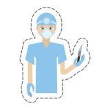cartoon surgeon professional scalpel head mirror uniform Royalty Free Stock Photos
