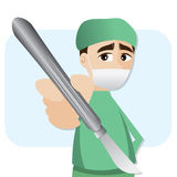 Cartoon surgeon with scalpel Royalty Free Stock Image