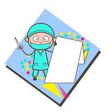 Cartoon Surgeon Showing a Origami Banner Vector Illustration. Design Royalty Free Stock Photo