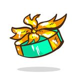 Cartoon surprise gift turquoise color with golden ribbon and bow for holidays Stock Images