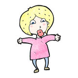 Cartoon surprised blond woman Royalty Free Stock Image