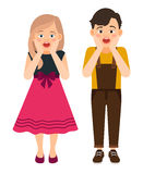 Cartoon surprised boy and girl Stock Image