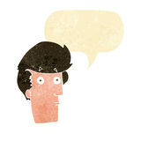 Cartoon surprised expression with speech bubble Stock Image