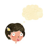 Cartoon surprised female face with thought bubble Royalty Free Stock Photography