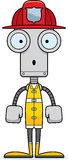 Cartoon Surprised Firefighter Robot Stock Images