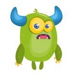 Cartoon surprised green horned monster. Halloween vector illustration. Troll or goblin character Stock Photo