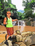 Cartoon surprised man with a backpack standing near a waterfall Royalty Free Stock Photos