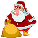 Cartoon surprised Santa Claus with a bag of gifts Stock Images
