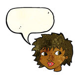 Cartoon surprised woman with speech bubble Royalty Free Stock Photo