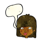 Cartoon surprised woman with speech bubble Stock Photo