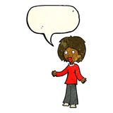 Cartoon surprised woman with speech bubble Royalty Free Stock Images