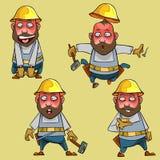 Cartoon surprised worker in the helmet in various poses Stock Photo