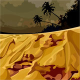 Cartoon surreal landscape of the jungle at sunset. Cartoon surreal landscape of the jungle and yellow sand at sunset Royalty Free Stock Photo