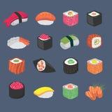 Cartoon sushi rolls japanese cuisine seafood vector set. Sushi food, roll with salmon and seaweed illustration stock illustration