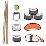 Cartoon sushi set Royalty Free Stock Images
