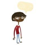 Cartoon suspicious boy with speech bubble Stock Images