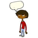 cartoon suspicious boy with speech bubble Royalty Free Stock Image