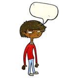 cartoon suspicious boy with speech bubble Royalty Free Stock Photos