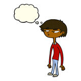 Cartoon suspicious boy with thought bubble Royalty Free Stock Photography