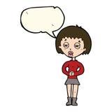 Cartoon suspicious girl with speech bubble Royalty Free Stock Photography