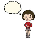 Cartoon suspicious girl with thought bubble Stock Images