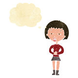 Cartoon suspicious girl with thought bubble Stock Photos