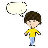 Cartoon suspicious man looking over shoulder with speech bubble Royalty Free Stock Photo