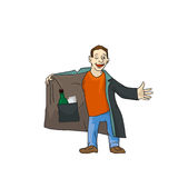Cartoon suspicious man is selling the forbidden stuff. Stock Photography