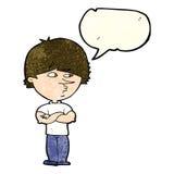 Cartoon suspicious man with speech bubble Stock Photos