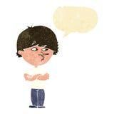 Cartoon suspicious man with speech bubble Royalty Free Stock Image