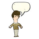 Cartoon suspicious man with speech bubble Royalty Free Stock Photography