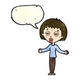 Cartoon suspicious woman with speech bubble Royalty Free Stock Photos