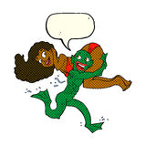 Cartoon swamp monster carrying girl in bikini with speech bubble Royalty Free Stock Photography