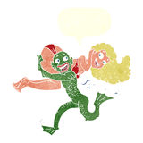 Cartoon swamp monster carrying girl in bikini with speech bubble Stock Images