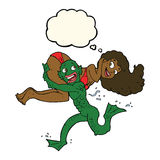 cartoon swamp monster carrying girl in bikini with thought bubbl Royalty Free Stock Photography