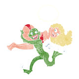 Cartoon swamp monster carrying girl in bikini with thought bubbl. E Stock Image