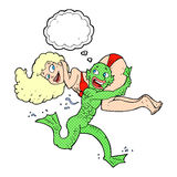 Cartoon swamp monster carrying girl in bikini with thought bubbl. E Royalty Free Stock Photos