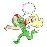 Cartoon swamp monster carrying girl in bikini with thought bubbl. E Royalty Free Stock Photo