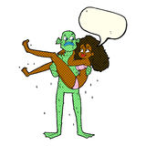 Cartoon swamp monster carrying woman in bikini with speech bubbl Royalty Free Stock Photography