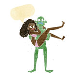 Cartoon swamp monster carrying woman in bikini with speech bubbl Royalty Free Stock Images