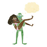 Cartoon swamp monster carrying woman in bikini with thought bubb Royalty Free Stock Image