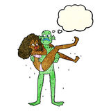 Cartoon swamp monster carrying woman in bikini with thought bubb Royalty Free Stock Photo