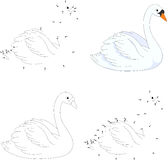 Cartoon swan. Coloring book and dot to dot game for kids Royalty Free Stock Photography