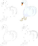 Cartoon swan with her chicks. Coloring book and dot to dot game Royalty Free Stock Image