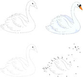 Cartoon swan. Vector illustration. Dot to dot game for kids Stock Image