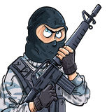 Cartoon SWAT member with a gun. Isolated on white Stock Photo