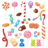Cartoon sweet bonbon sweetmeats candy kids food sweets mega collection isolated on white background. Sweet candies flat icons set. Sweetmeats, lollipops and Stock Photography