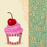 Cartoon sweet cupcake and doodle boho pattern. Sweet cupcake with cherry and pink cream on card with doodle boho pattern. Ideal for posters, advertisements Stock Image