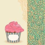 Cartoon sweet cupcake and doodle boho pattern Stock Photography